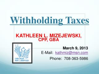 Withholding Taxes
