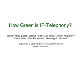 How Green is IP-Telephony?
