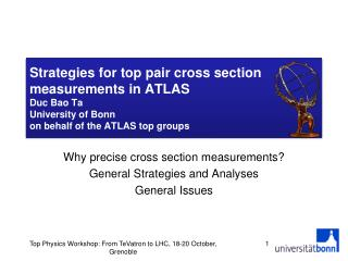Why precise cross section measurements? General Strategies and Analyses General Issues
