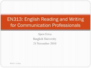EN313: English Reading and Writing for Communication Professionals