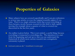 Properties of Galaxies