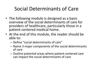 Social Determinants of Care