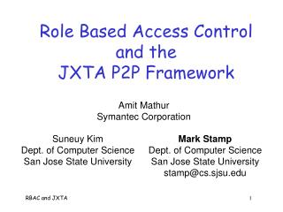 Role Based Access Control and the  JXTA P2P Framework