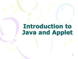 Introduction to Java and Applet