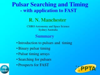 Pulsar Searching and Timing