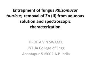 PROF A V N SWAMY, JNTUA College of  Engg Anantapur-515002.A.P. India