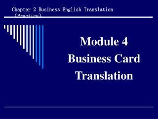 Module 4 Business Card Translation