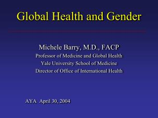Global Health and Gender