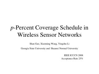 p -Percent Coverage Schedule in Wireless Sensor Networks
