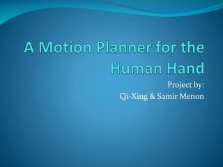 A Motion Planner for the Human Hand