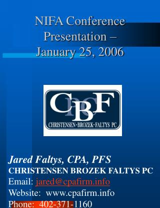 NIFA Conference Presentation –  January 25, 2006