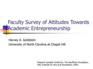 Faculty Survey of Attitudes Towards Academic Entrepreneurship