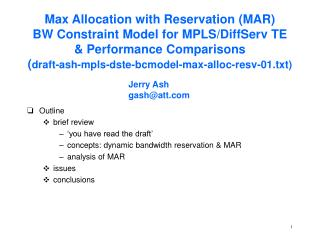 Outline brief review 'you have read the draft' concepts: dynamic bandwidth reservation & MAR