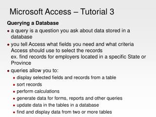 Microsoft Access – Tutorial 3