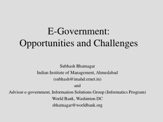 E-Government: Opportunities and Challenges