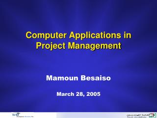 Computer Applications in  Project Management