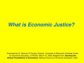 What is Economic Justice?