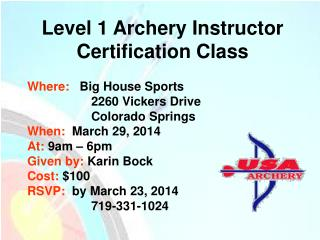 Level 1 Archery Instructor Certification Class
