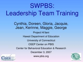 SWPBS: Leadership Team Training