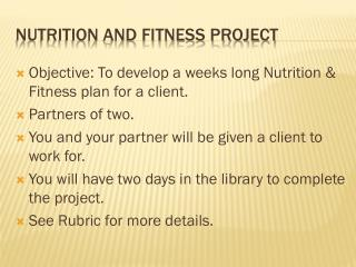 Nutrition and Fitness Project