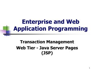 Enterprise and Web Application Programming