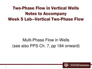Two-Phase Flow in Vertical Wells Notes to Accompany Week 5 Lab—Vertical Two-Phase Flow