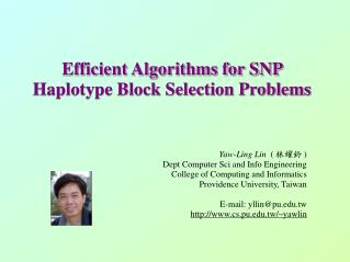 Efficient Algorithms for SNP Haplotype Block Selection Problems