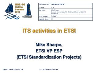 ITS activities in ETSI