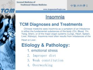 Insomnia TCM Diagnoses and Treatments