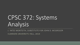 CPSC 372: Systems Analysis