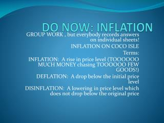 DO NOW: INFLATION