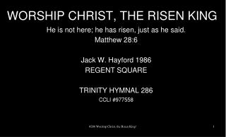 WORSHIP CHRIST, THE RISEN KING