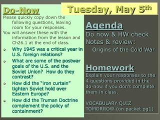 (If you don't finish in class today) HOMEWORK –  Due Wednesday 5/6