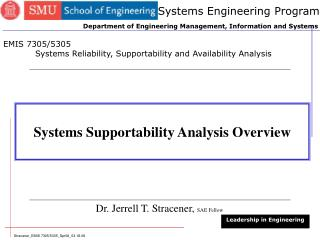 Systems Supportability Analysis Overview