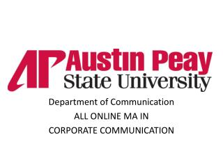 Department of Communication ALL ONLINE MA IN CORPORATE COMMUNICATION