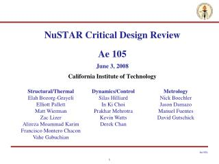 NuSTAR Critical Design Review Ae 105 June 3, 2008 California Institute of Technology
