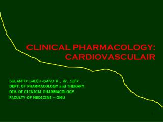 CLINICAL PHARMACOLOGY: CARDIOVASCULAIR