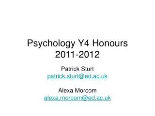 Psychology Y4 Honours 2011-2012