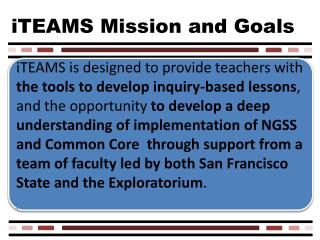 iTEAMS Mission and Goals