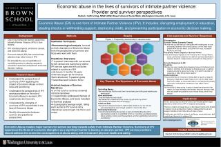 Economic abuse in the lives of survivors of intimate partner violence: