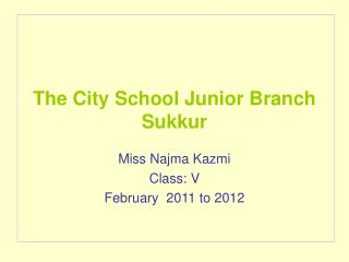 The City School Junior Branch Sukkur