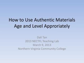 How to Use Authentic Materials Age and Level Approriately