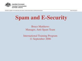 Spam and E-Security