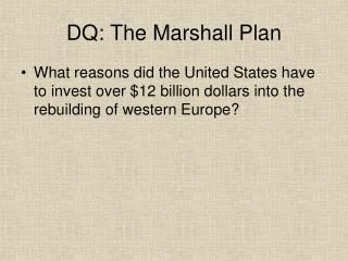 the reason of marshall plan