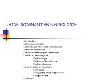 L'AIDE-SOIGNANT EN NEUROLOGIE