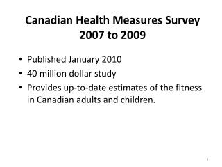 Canadian Health Measures Survey 2007 to 2009
