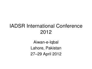 IADSR International Conference 2012