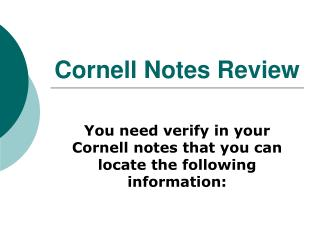Cornell Notes Review
