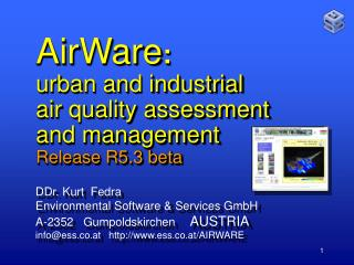 AirWare :   urban and industrial air quality assessment  and management Release R5.3 beta