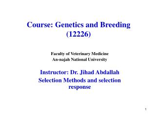 Course: Genetics and Breeding (12226)